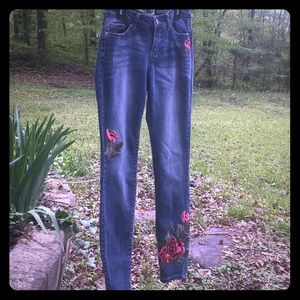 Ladies Jeans with Rose Appliqués